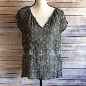 Joie Sheer Olive and White Patterned Boho Top